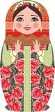Traditionella ryska dockor för matryoshka (matrioshka), i nationell stildräkt Arkivfoton