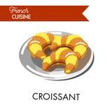 Traditionella smakliga giffel från fransk kokkonst på plattan royaltyfri illustrationer