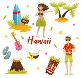 Traditionella symboler av den hawaianska kulturuppsättningen, surfingbräda, palmträd, vulkan, stam- maskering för tiki, ukuleleve royaltyfri illustrationer