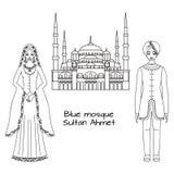 Traditionella turkiska kläder, nationell mellersta östlig torkduk, man- och kvinnasultandräkt och den blåa moskén, Sultanahmet Ca Fotografering för Bildbyråer