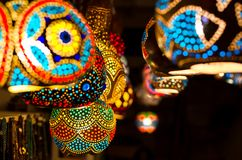Traditionella turkiska lampor, Gumusluk, Turkiet Royaltyfri Fotografi