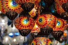 Traditionella turkiska mosaiklyktor Arkivfoto