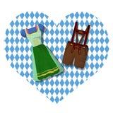 Traditionella tyska bayerska kläder: Dirdle och Lederhosen royaltyfri illustrationer