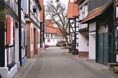 Traditionella tyska hus, fachwerkhaus Arkivbild