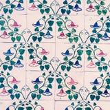 Traditionella utsmyckade portugisiska dekorativa tegelplattaazulejos/Abstra Royaltyfria Bilder