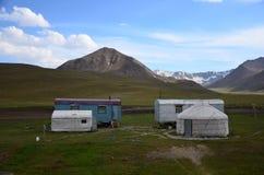 Traditionella Yurts i Kyrgyzystan Arkivbild