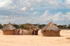 Traditionelle afrikanische Hütten Stockfotografie