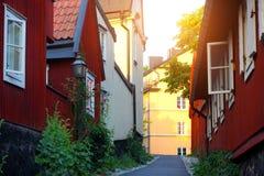Traditionelle alte schwedische Häuser Stockbild