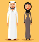 Traditionelle arabische Paare Flache Illustration des Vektors Stockfoto