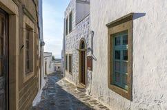 Traditionelle Architektur im chora von Patmos-Insel, Dodecanese, Griechenland stockfoto