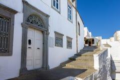Traditionelle Architektur im chora von Patmos-Insel, Dodecanese, Griechenland stockbilder