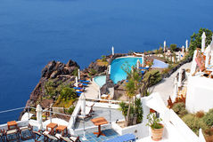 Traditionelle Architektur von Oia-Dorf auf Santorini Insel Lizenzfreies Stockfoto