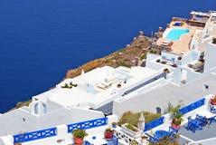 Traditionelle Architektur von Oia-Dorf auf Santorini Insel Stockfotos