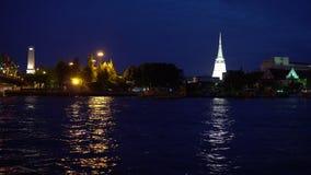 Traditionelle asiatische Kultur am Nachtlicht in der Stadt stock footage