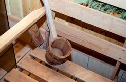 Traditionelle Ausrüstung für russisches Bad vom Holz Stockbild