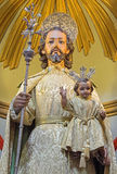 Traditionelle bekleidete Statue Cordobas - St Joseph in Church Eremita de Nuestra Senora del Socorro auf Seitenaltar von 18 cent Stockfotografie