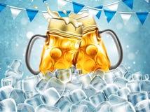 Traditionelle Bierkrüge mit Tröpfchen der Feuchtigkeit In hohem Grade realisti Lizenzfreies Stockbild