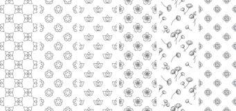 6 traditionelle Blumen- und Blattlinie nahtlose Tapete asien japanisch siamesisch chinesisch vektor abbildung