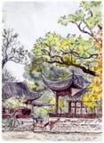 Traditionelle Chinesen arbeiten mit Pagodenpavillons im Garten - übergeben Sie Zeichnung Stock Abbildung