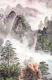 Traditionelle chinesische Malerei, Landschaft, Bäume lizenzfreies stockbild