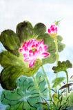 Traditionelle chinesische Malerei von Lotos lizenzfreie abbildung