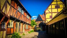 Traditionelle dänische Häuser bei Den Gamle By in Aarhus, Dänemark stockfotografie