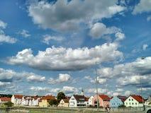 Traditionelle deutsche Häuser, Regensburg lizenzfreies stockfoto