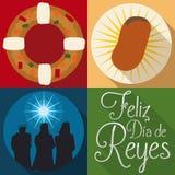 Traditionelle Elemente für spanisches ` Dia de Reyes-` oder Offenbarungs-Feier, Vektor-Illustration Stockbild