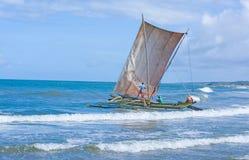 Traditionelle Fischenkatamaran Sri Lankan Lizenzfreie Stockfotos