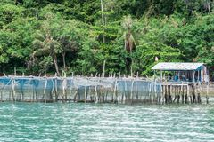 Traditionelle Fischerholzhäuser, Thailand Stockbilder