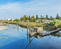 Traditionelle Fischernetze, alte Fischfalle in Ada Bojana bei Bojana Lizenzfreie Stockbilder