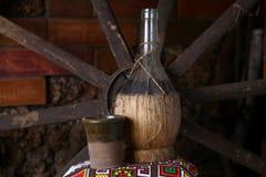 Traditionelle Flasche Wein Stockfoto