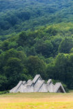 Traditionelle Gebirgshäuser in den Hügeln Stockbilder