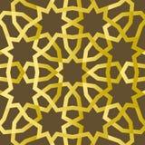 Traditionelle geometrische dekorative Mustergoldostart Arabischer Musterhintergrund Islamischer Verzierungsvektor Stockfotos
