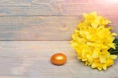Traditionelle goldene Eier Ostern, entspringen gelbe Narzissenblume Lizenzfreies Stockfoto