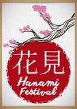 Traditionelle hängende Rolle mit Zeichnung von Cherry Branch für Hanami, Vektor-Illustration stock abbildung