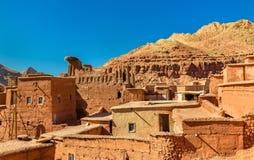Traditionelle Häuser in Bou Tharar-Dorf Marokko, das Tal von Rosen Lizenzfreies Stockfoto