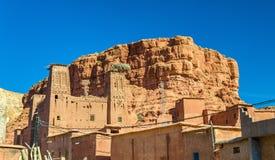Traditionelle Häuser in Bou Tharar-Dorf Marokko, das Tal von Rosen Lizenzfreie Stockfotografie