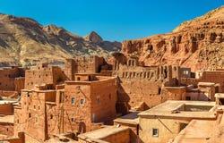 Traditionelle Häuser in Bou Tharar-Dorf Marokko, das Tal von Rosen Lizenzfreie Stockfotos