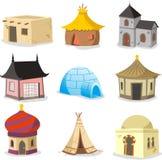 Traditionelle Häuser bringen Iglu-Hütten-Bretterbude-Elendsviertel-Kabinett-Häuschen Ca unter