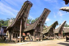 Traditionelle Häuser in Tana Toraja, Sulewesi Lizenzfreies Stockbild
