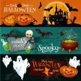 Traditionelle Halloween-Einladungsfahnen mit Text Stockfotografie