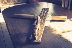 Traditionelle handgefertigte hölzerne Instrumente von Norwegen stockbild