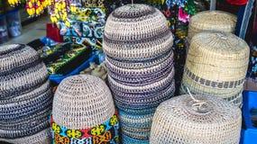 traditionelle Hauptabnutzung/Hut hergestellt vom Rattan Lizenzfreies Stockbild