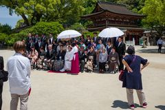 Traditionelle Hochzeit in Dazaifu stockfotografie