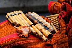 Traditionelle Holzblasinstrumentinstrumente Stockfoto