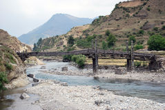 Traditionelle Holzbrücke Stockfotos