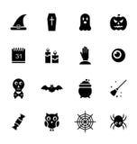 Traditionelle Ikonen Halloweens, schwarze Schattenbilder Stockbilder