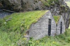 Traditionelle isländische Rasen-Häuser Stockfoto