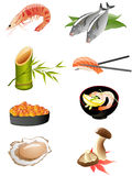 Traditionelle japanische Nahrungsmittelikonen Stockfoto